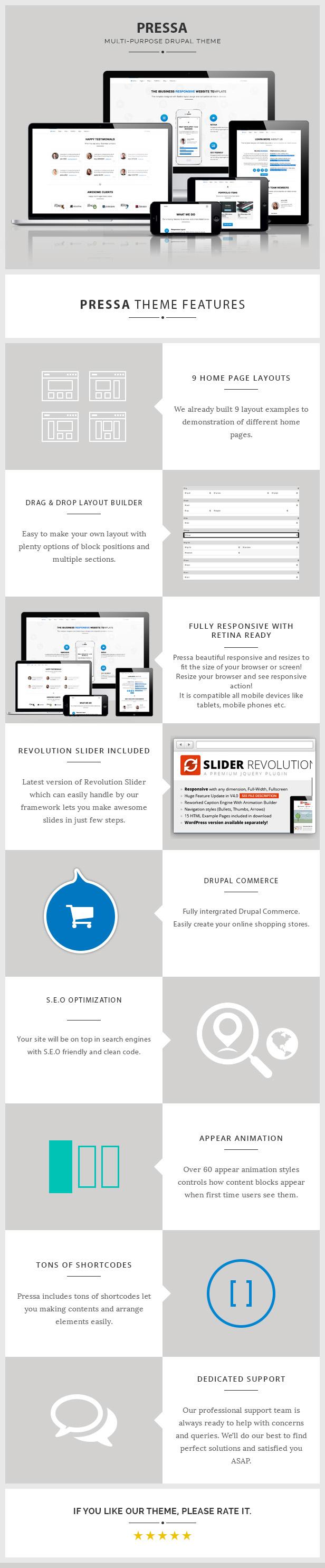 Pressa - Multi-Purpose, eCommerce Drupal Theme